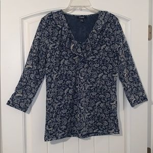 Chaps, blue floral top, size extra large